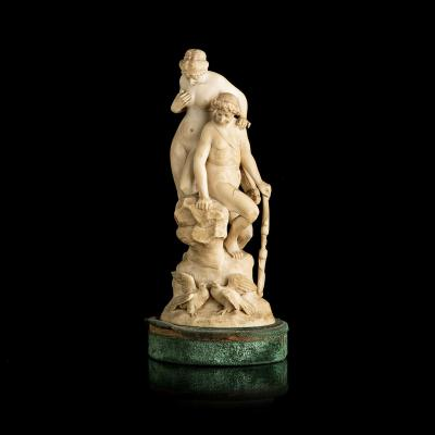 """Sculpture Allemand 19eme Siècle """" Aphrodite Et Adonis """""""