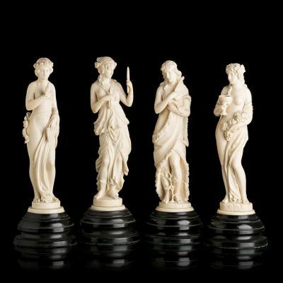 """Groupe Sculptural Important Dieppe """" Les Quatre Saisons """""""