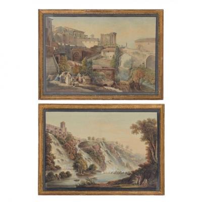 Jean Antoine Constantin (1756 / 1844 ) Paire d'Aquarelles