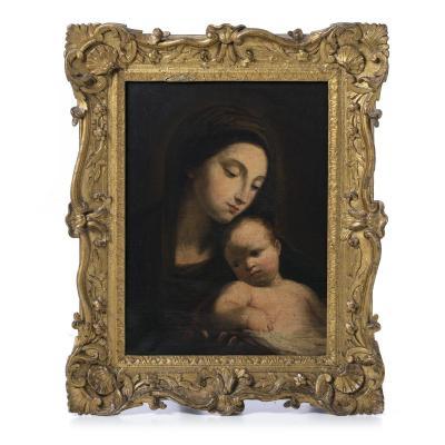 """"""" La Vierge Et l'Enfant """" Ecole Italienne XVIIeme Siecle"""