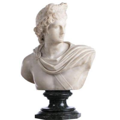 """Apollon Belvedere "" Pietro Bazzanti, Signe' Bust En Marbre"