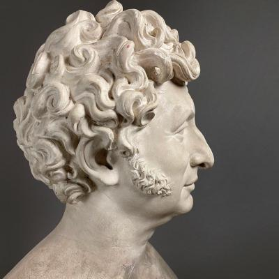 Achille Valois - Large Bust Of A Man In Plaster