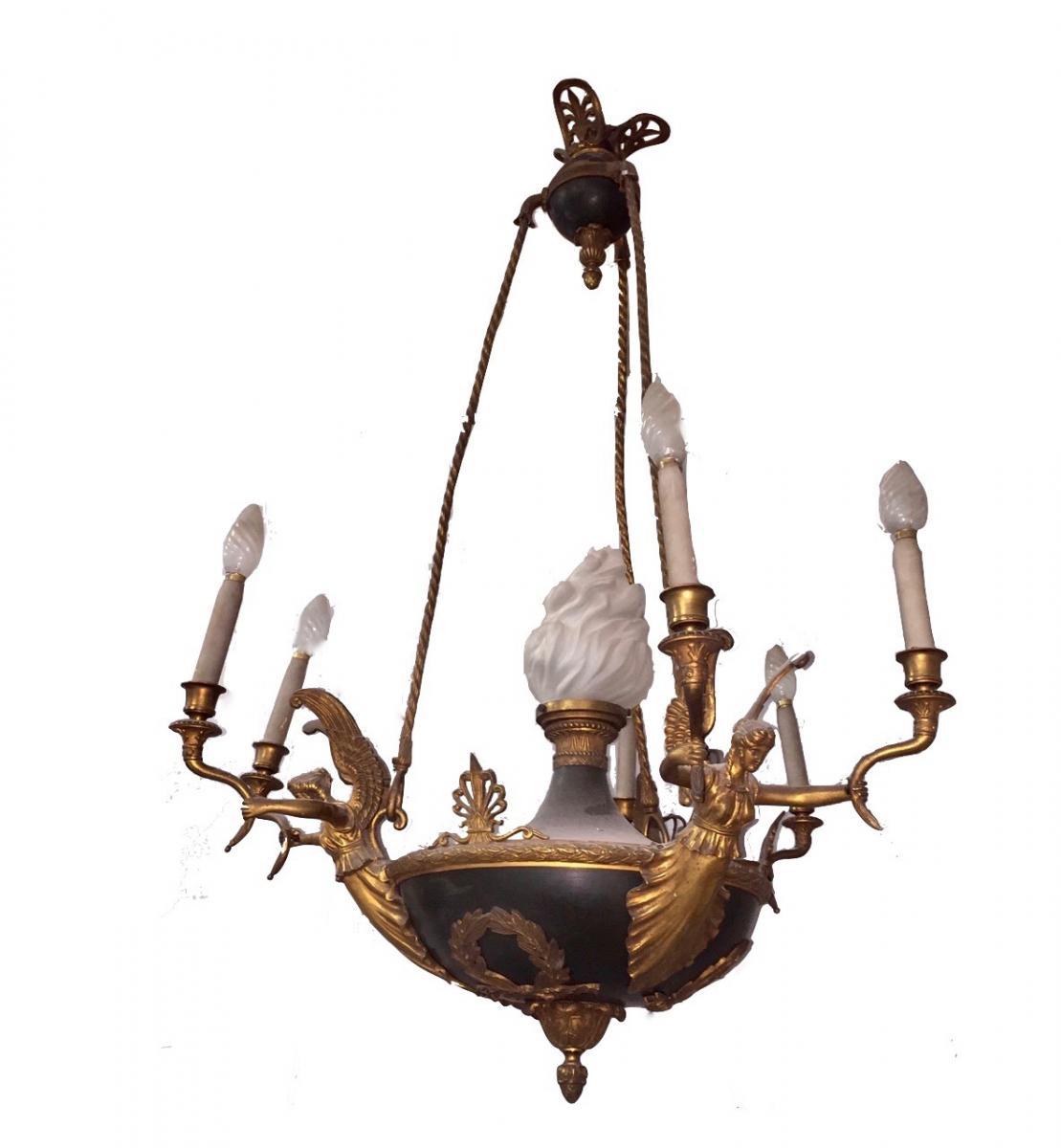 lustre en bronze de style empire