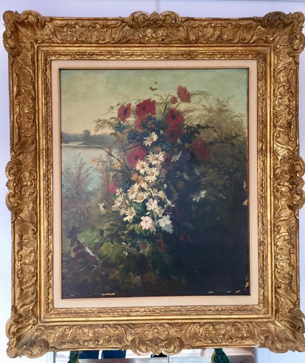 Tableau Nature Morte Aux Fleurs Fin Du XIX Eme Siècle Signé J. Clement