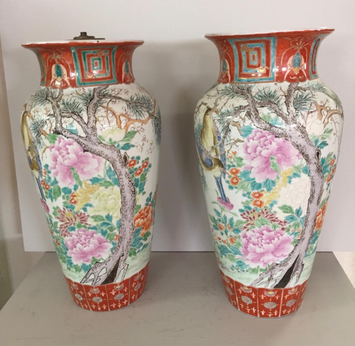 Paire De Vases En Porcelaine De Kutani