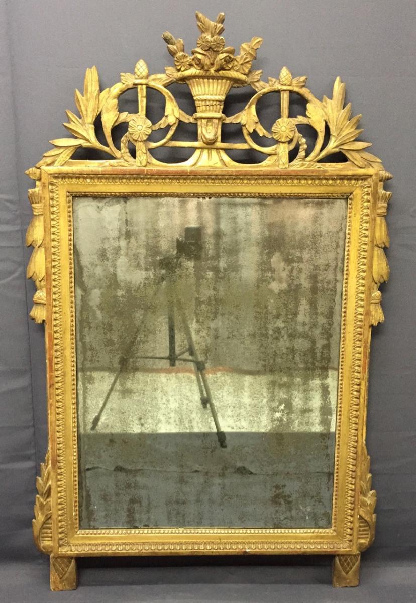 Miroir En Bois Sculpté Et Doré D époque Louis XVI