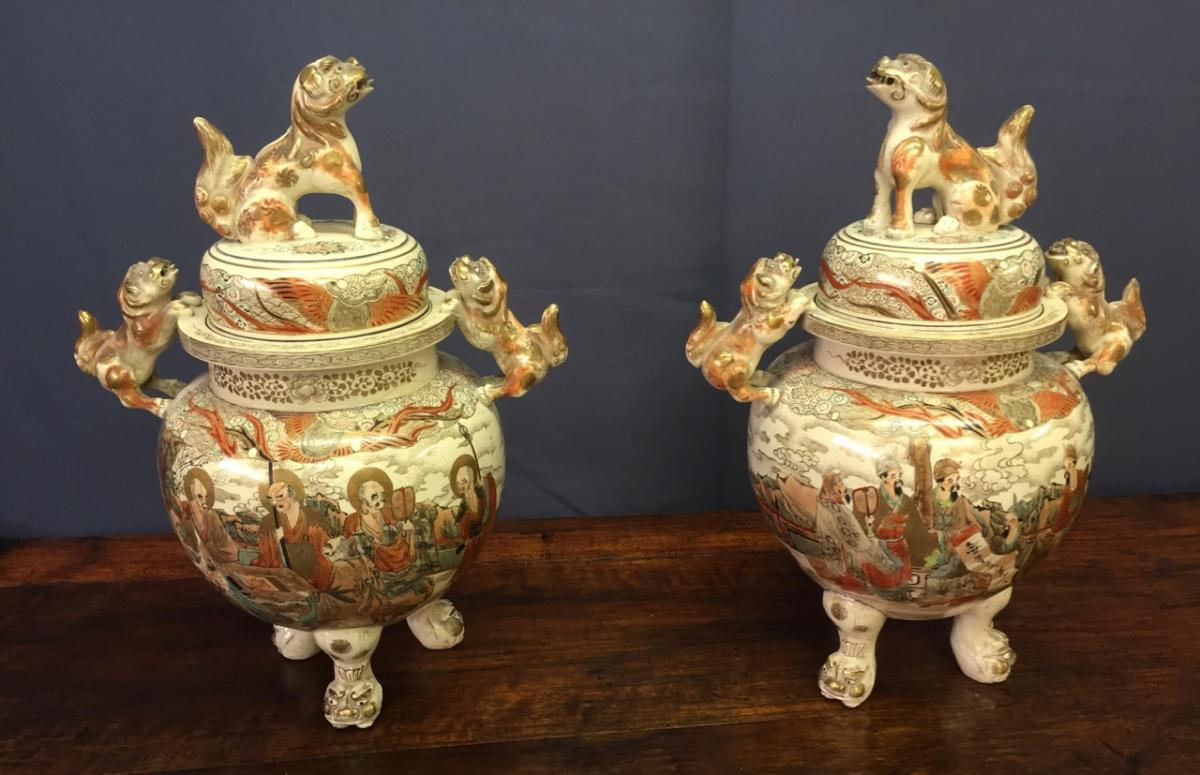 Pair Of Brule Fragrance Ceramic Satsuma