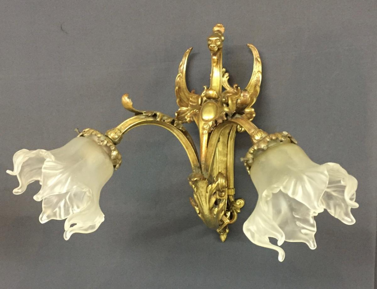Pair Of Bronze Wall Sconces-photo-2
