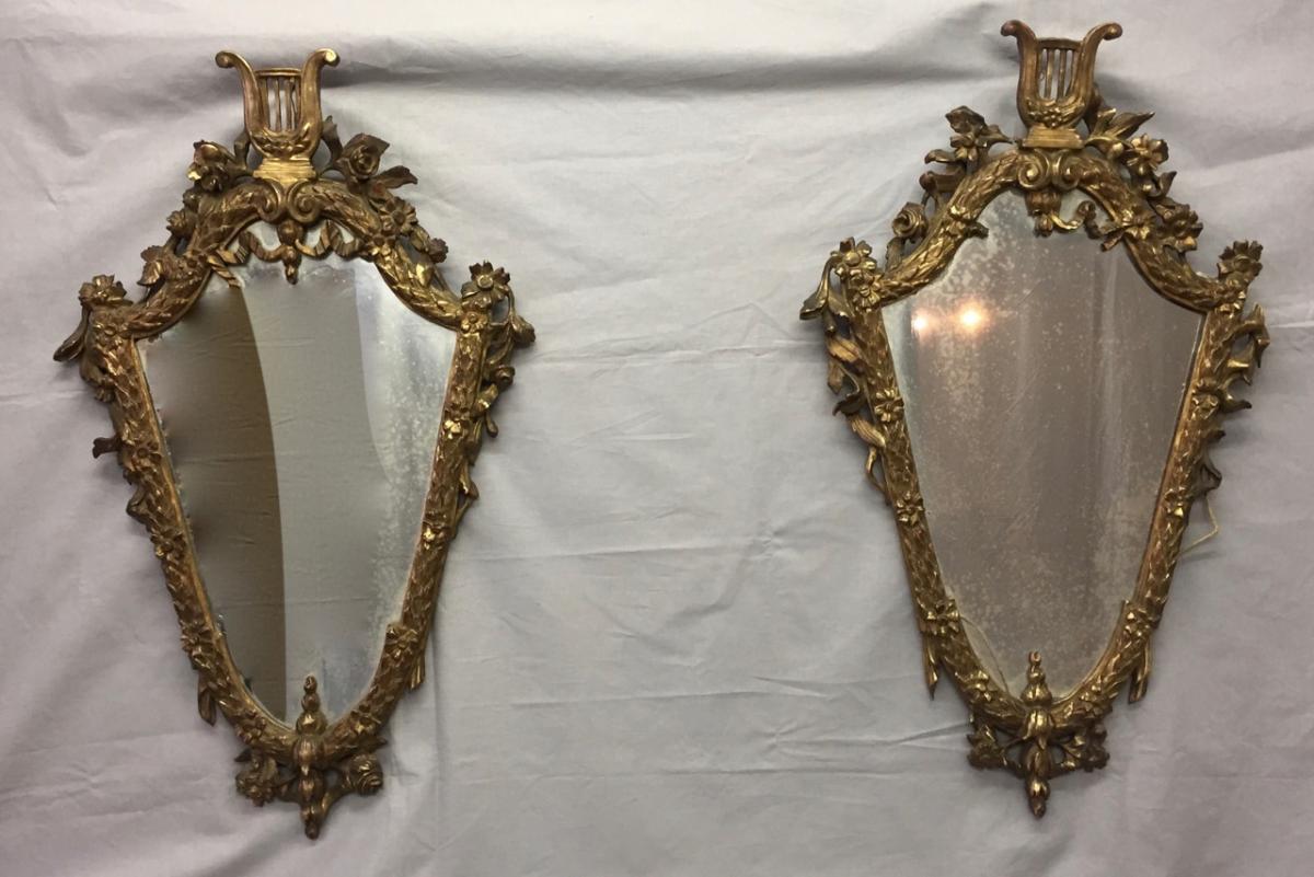 Paire De Miroirs En Bois Doré Angleterre 19 Eme