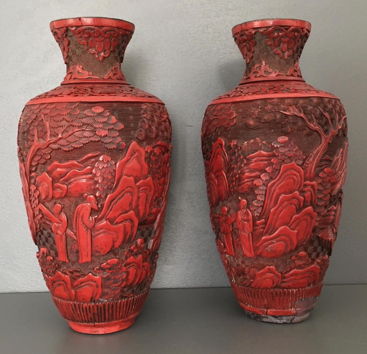 Pair Of Vases In Lacquer Cinnabar China XIX Eme Century