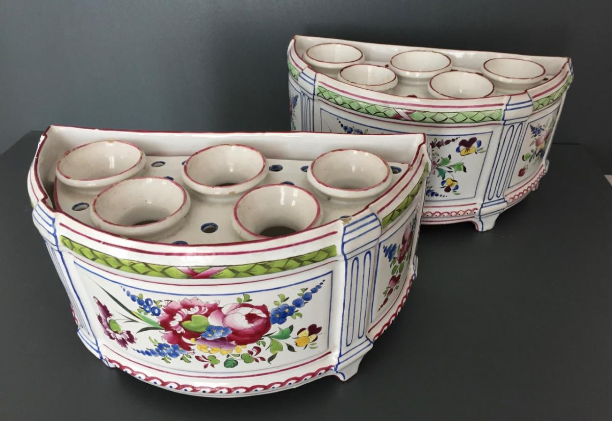 Pair Of Bouquetières In Earthenware From East
