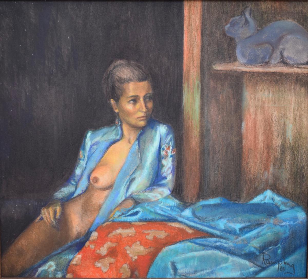 Nude Woman Pastel Painting