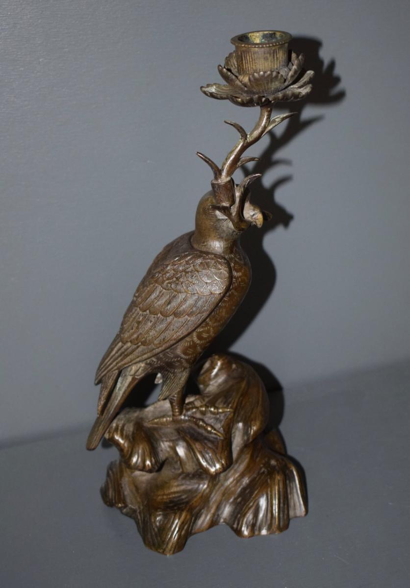 Okimono En Bronze Periode Meiji