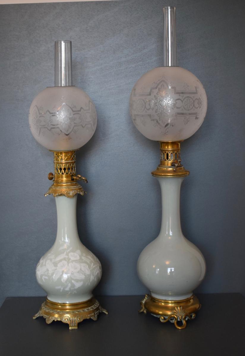 2 Lampes En Porcelaine Celadon