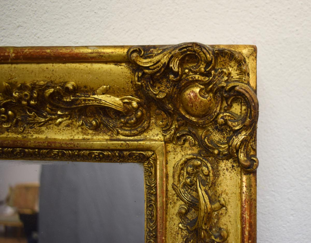 Restoration Mirror In Wood And Stucco Gilded-photo-2
