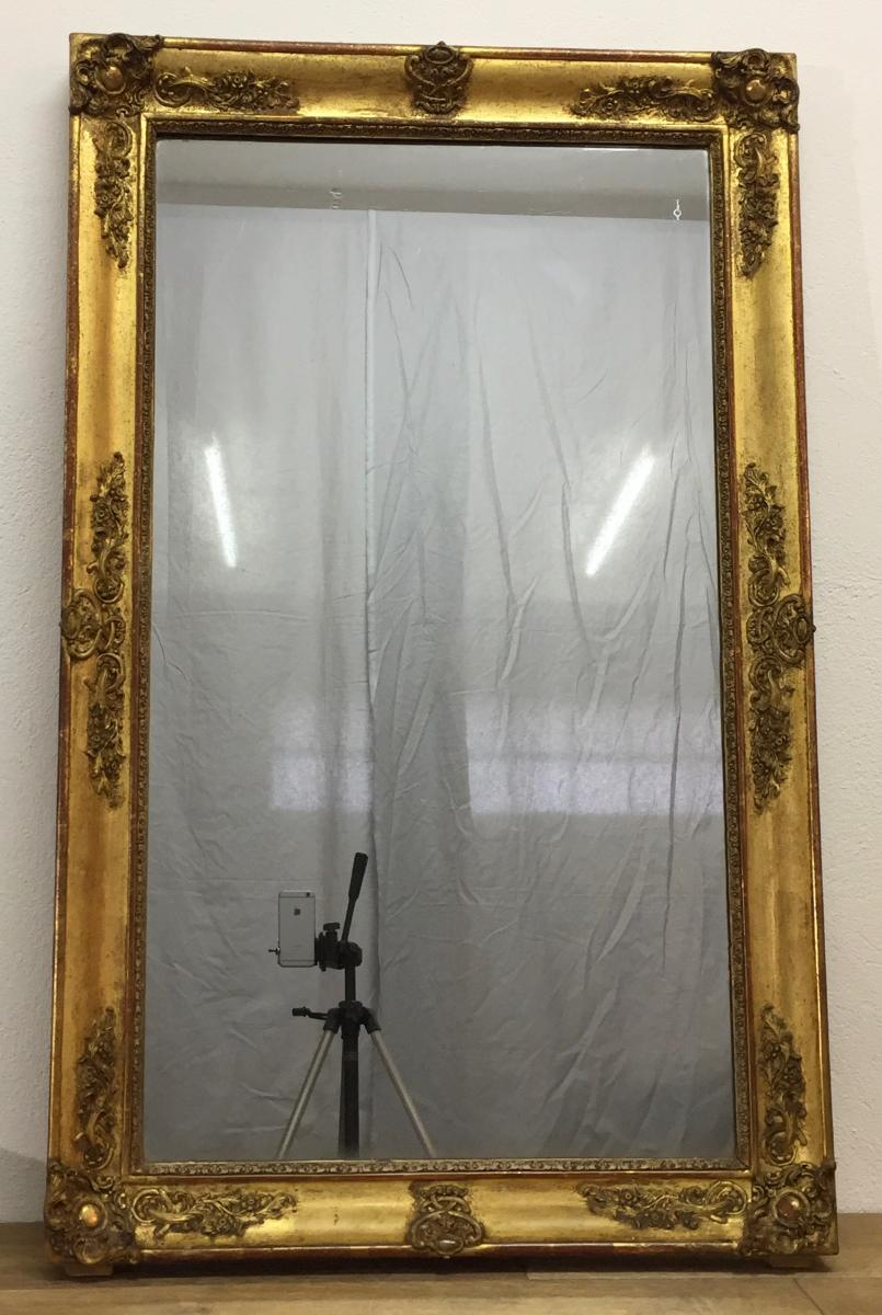 Restoration Mirror In Wood And Stucco Gilded-photo-4
