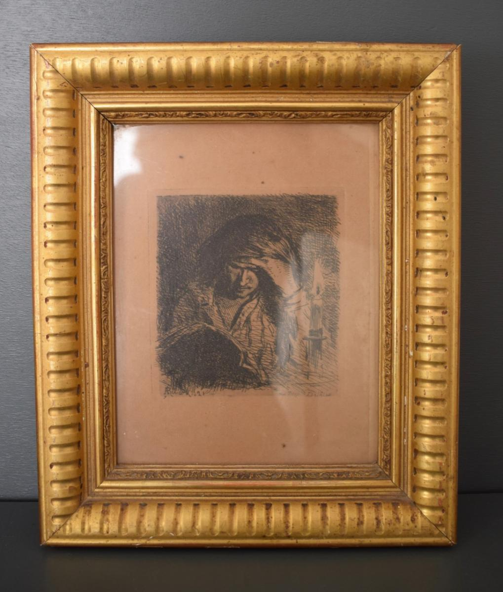 Frame D Restoration Period In Wood And Stucco Gilded