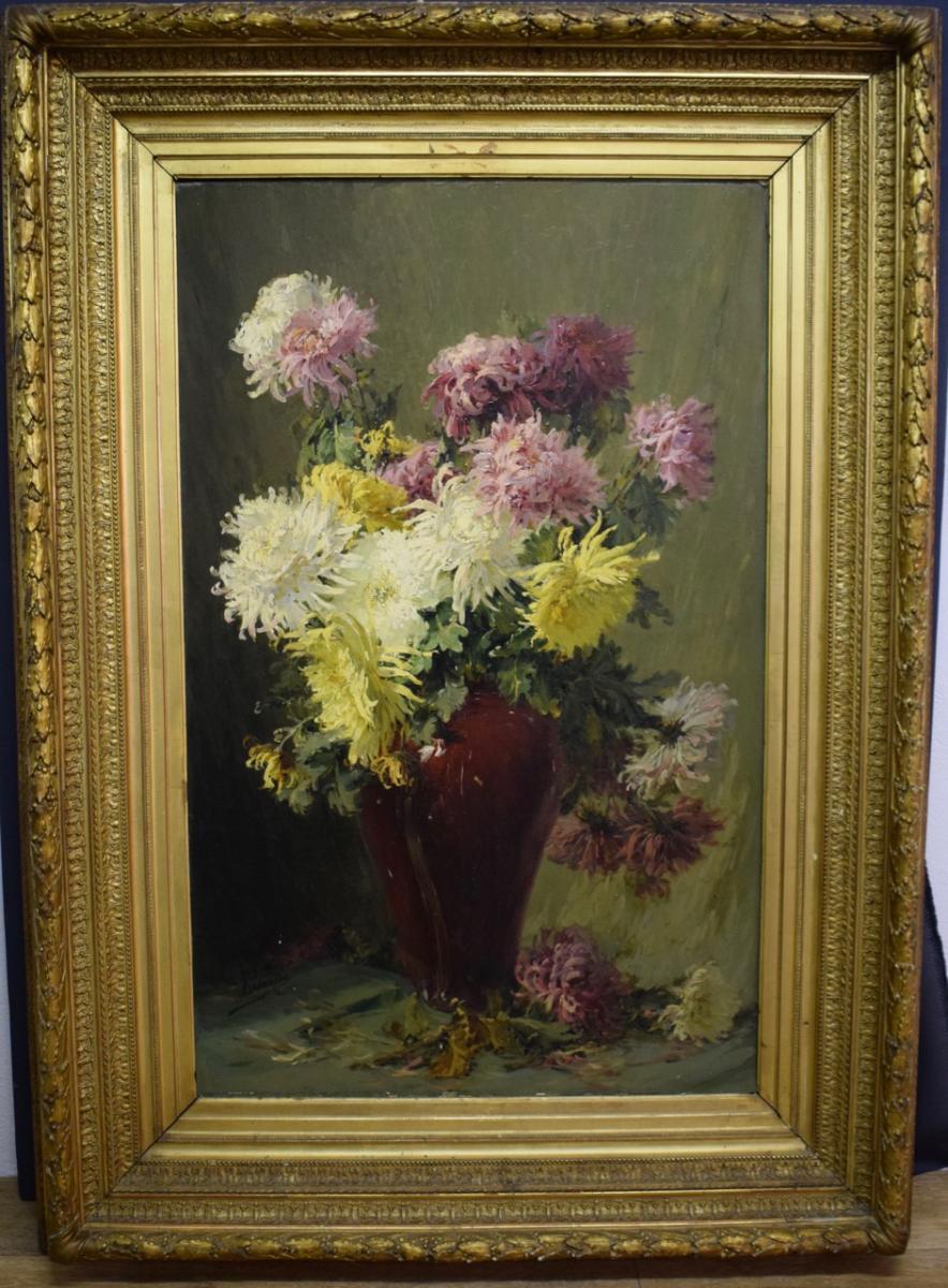 Ferdinand Troupeau Grande Nature Morte Aux Chrysanthèmes