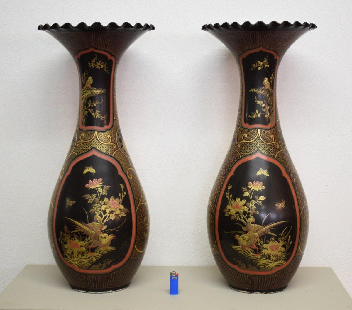 Paire De Vases En Porcelaine Laquée Période Meiji