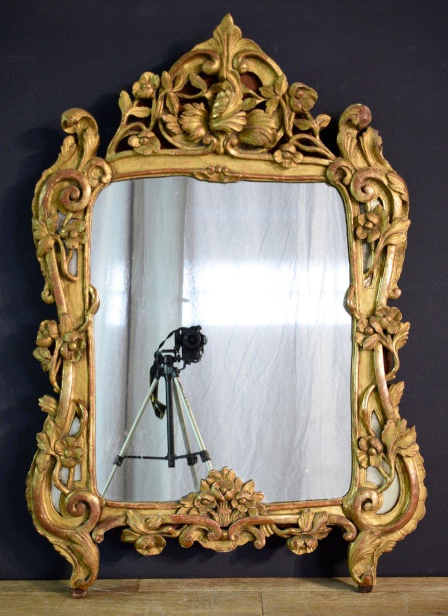 Miroir D époque Louis XV En Bois Sculpté Et Doré