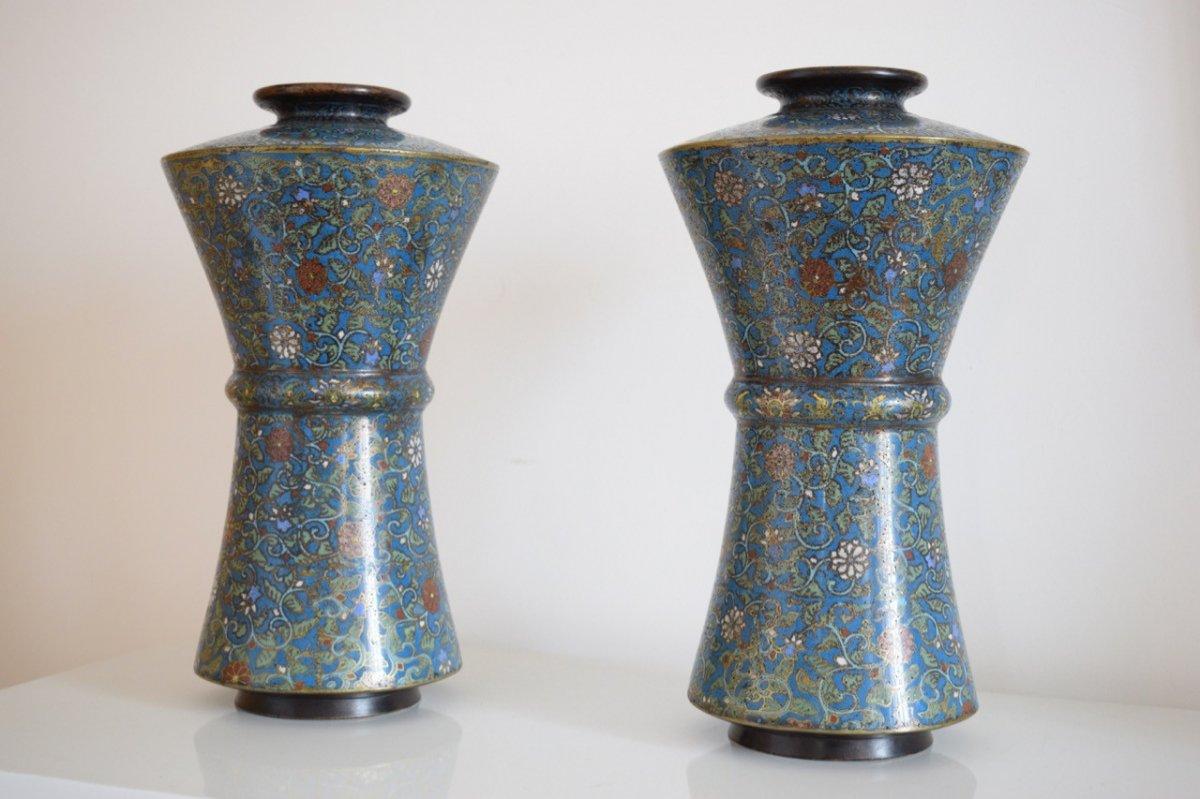 Paire De Vases En Bronze Et émaux Cloisonnés XIX Eme