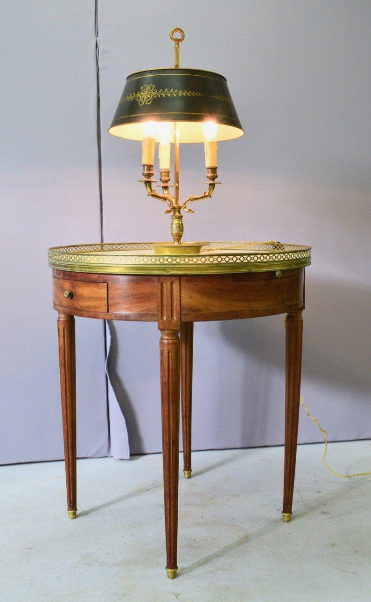 Table Bouillotte De Style Louis XVI En Acajou Blond