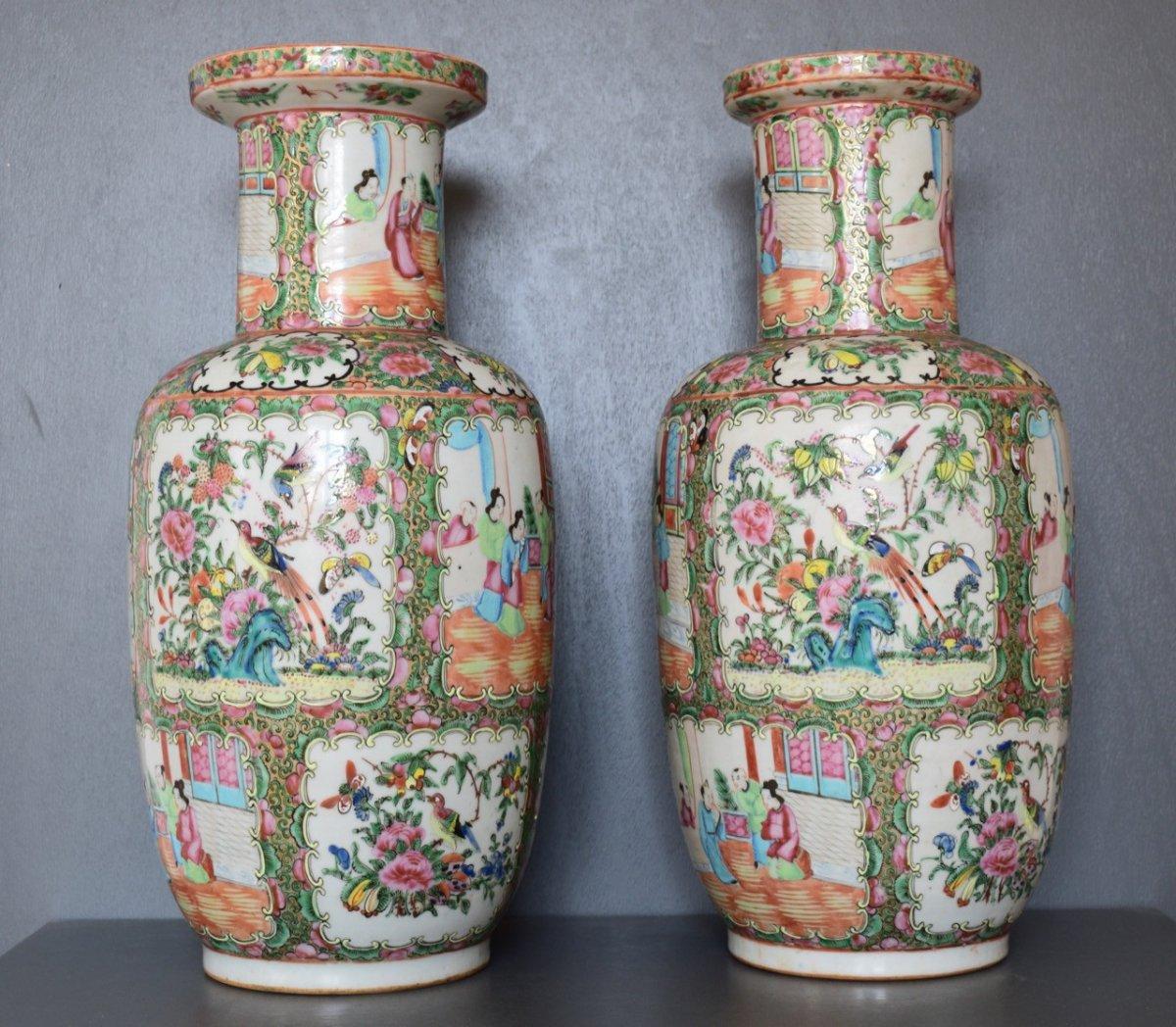Chine Paire De Vases En Porcelaine De Canton