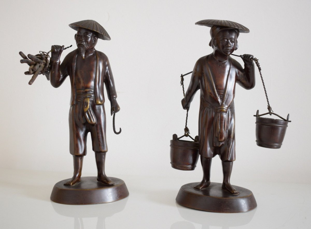 Vietnam Tonkinese Peasant Couple In Bronze