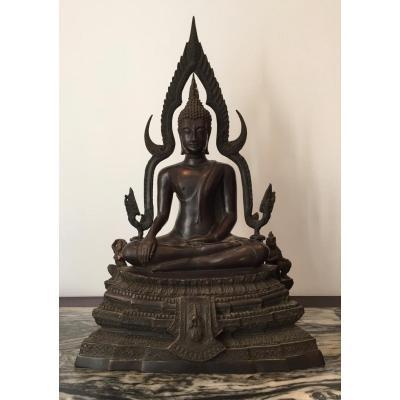 Grand Bouddha En Bronze XIX Eme Siècle