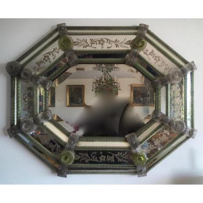 Miroir En Verre De Venise Bicolore