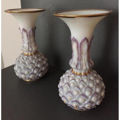 paire de vases en opaline baccarat 19 eme