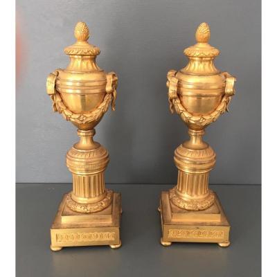 Paire De Cassolettes En Bronze Doré D époque Louis XVI