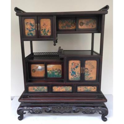 Cabinet Japon En Bois Exotique Et Panneaux Cloisonnés