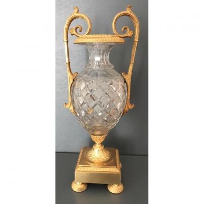 Vase En Cristal Taillé Et Bronze Doré