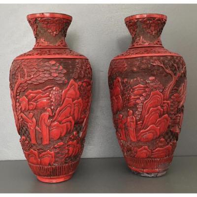 Paire De Vases En Laque Cinabre Chine XIX Eme Siècle