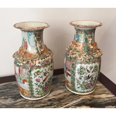 Paire De Vases En Porcelaine De Chine Canton XIX Eme