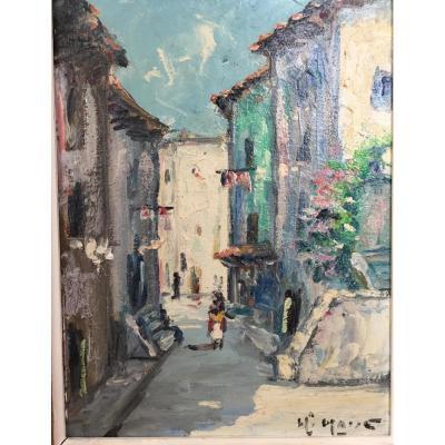 """Tableau  """"vue Du Vieux Cannes"""""""
