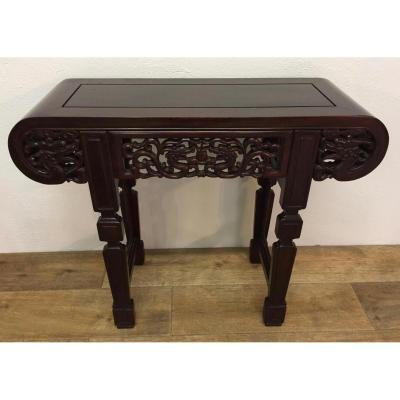 Small Chinese Console In Exotic Wood XX Eme Century