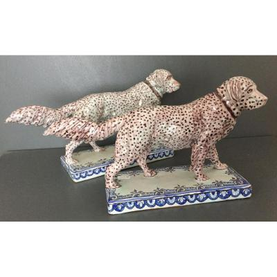 Two Dogs In Nevers Faience Nineteenth Century Era