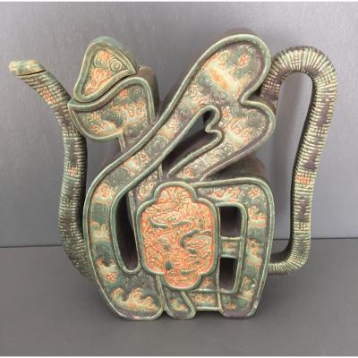 Théière En Forme De Calligraphie En Céramique De Bien Hoa