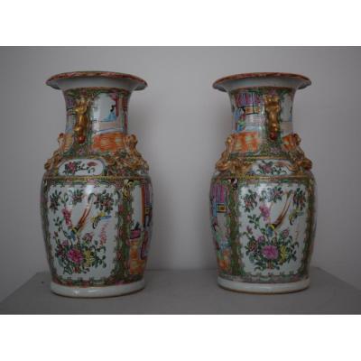Paire De Vases En Porcelaine De Canton XIX Eme
