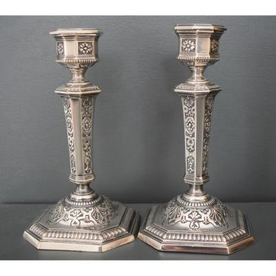 Pair Of Regency Style Candlestick In Silver Metal