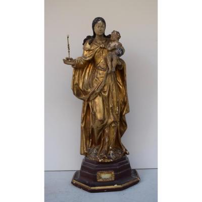 Vierge A L Enfant XVIII eme en bois