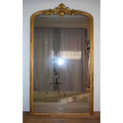 Large Mirror Louis XV Style Wood And Stucco Gilded