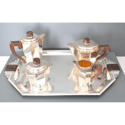 Art Deco Coffee And Tea Set In Silver Metal