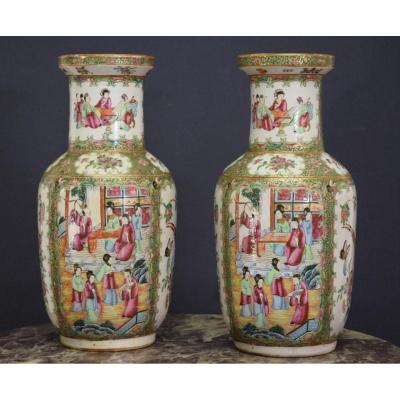 China Pair Of Porcelain Vases Canton 19 Eme