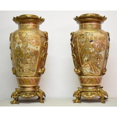 Importante Paire De Vases En Céramique De Satsuma