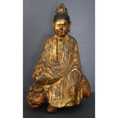 Buddha In Lacquered And Gilded Wood