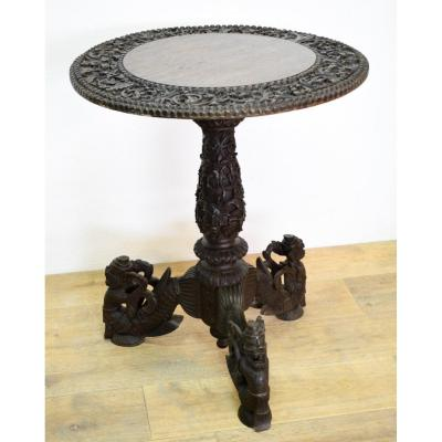 Indochinese Pedestal Table Exotic Wood