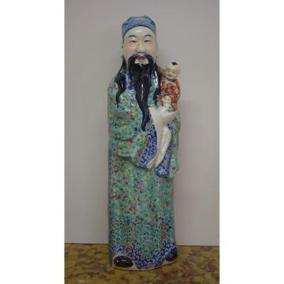 Grande Statue D Un Immortel En Porcelaine De Chine Fin 19 Eme